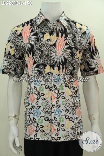 Hem Batik Dua Motif Lengan Pendek Proses Cap Berbahan Halus Dan Adem, Produk Baju Batik Istimewa Keren Banget Untuk Pakaian Kerja Yang Berkelas, Size L