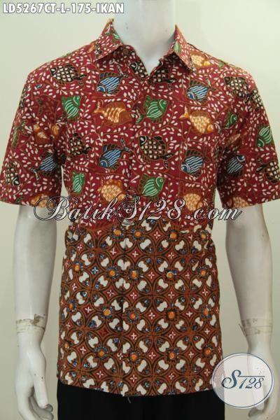 Baju Batik Motif Ikan Proses Cap Tulis, Pakaian Santai Bahan Batik Kwalitas Halus Modis Dan Nyaman Di Pakai Model Lengan Pendek [LD5267CT-L]
