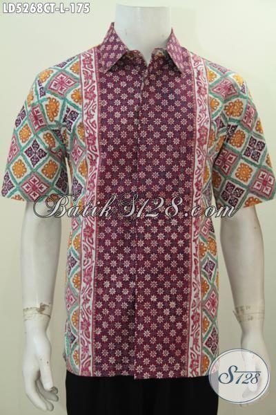 Baju Hem Lengan Pendek Motif Kombinasi Buatan Solo, Produk Baju Batik Kwalitas Bagus Bahan Adem Proses Cap Tulis Cocok Buat Ke Kantor, Size L