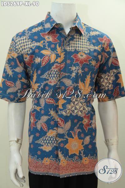 Batik Hem Batik Modis Lengan Pendek Warna Biru Proses Printing Motif Bunga, Busana Batik Jawa Kwalitas Halus Untuk Santai Dan Hangout, Size XL