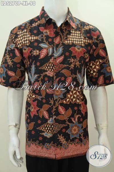 Baju Batik Printing Motif Bunga Dasar Hitam Ukuran XL, Pakaian Batik Lengan Pendek Lelaki Dewasa Tampil Lebih Gaya Dan Trendy