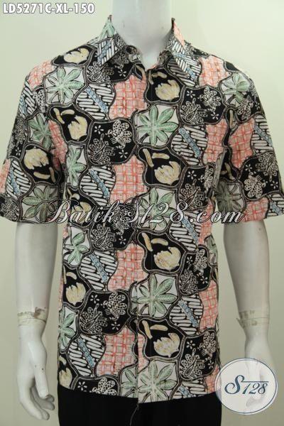 Hem Keren Batik Cap Buatan Solo, Busana Batik Motif Unik Buat Santai, Kemeja Lengan Pendek Batik Keren Buat Tampil Lebih Kece, Size XL