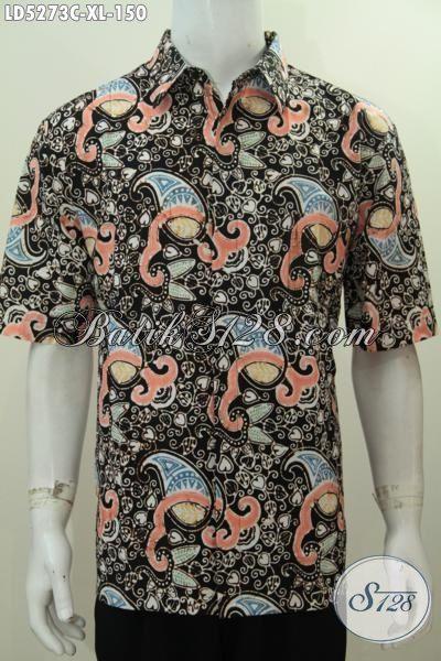 Pakaian Batik Jawa Motif Terbaru Untuk Lelaki Dewasa, Hem Lengan Pendek Warna Elegan Bagus Untuk Ke Kantor Tampil Lebih Gagah, Size XL