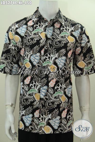 Batik Kemeja Modis Model Lengan Pendek, Baju Batik Santai Motif Trendy Proses Cap, Tampil Stylish Dengan Harga Terjangkau, Size XL