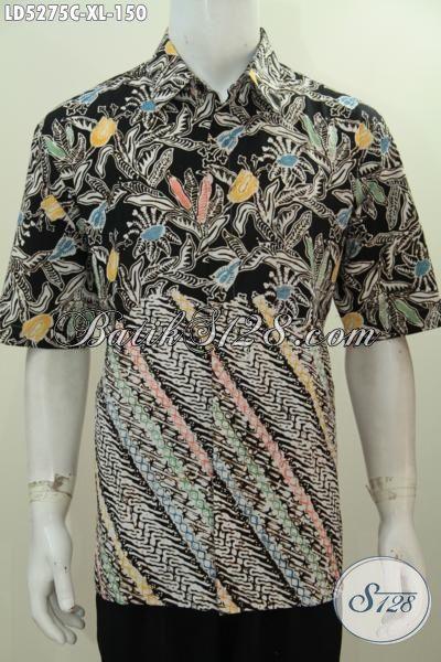 Kemeja Batik Lengan Pendek Dual Motif Kwalitas Bagus, Jual Online Busana Batik Modis Size XL Spesial Buat Lelaki Dewasa Terlihat Mempesona