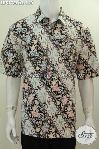 Baju Batik Parang Lengan Pendek Parang Bunga Proses Cap, Kemeja Batik Modis Trend Terkini Yang Bikin Penampilan Pria Lebih Kece Dan Modis, Size XL