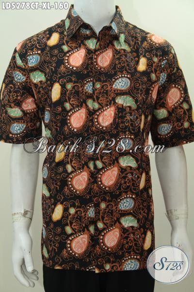 Baju Hem Batik Lengan Pendek Ukuran XL Desain Motif Keren Dan Modis, Kemeja Batik Pria Masa Kini Proses Cap Tulis Tampil Tampan Mempesona