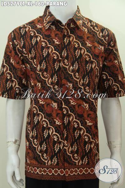 Hem Batik Elegan Motif Parang Proses Cap Tulis, Produk Pakaian Batik Cowok Ukuran Tampil Berkelas Anti Galau, Size XL