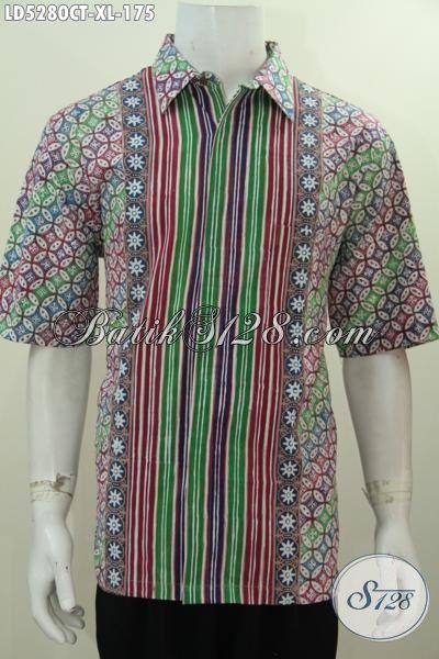 Jual Baju Hem Batik Lengan Pendek Motif Kombinasi, Produk Pakaian Batik Halus Proses Cap Tulis Mambuat Pria Dewasa Lebih Menawan, Size XL