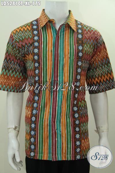 Busana Batik Lengan Pendek Modis Mottif Kombinasi Proses Cap Tulis, Baju Batik Bagus Dan Halus Produk Dari Solo Trend Pakaian Pria Dewasa Terkini [LD5281CT-XL]