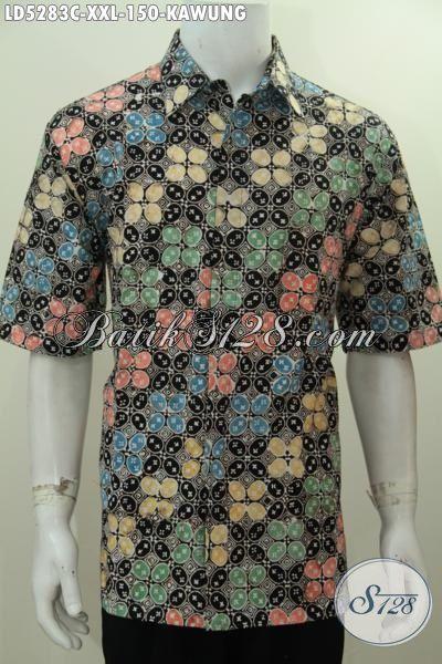 Baju Hem Keren Banget Motif Kawung Ukuran 3L, Pakaian Batik XXL Spesial Untuk Pria Gemuk, Berbahan Halus Kwalitas Bagus Proses Cap Harga Terjangkau