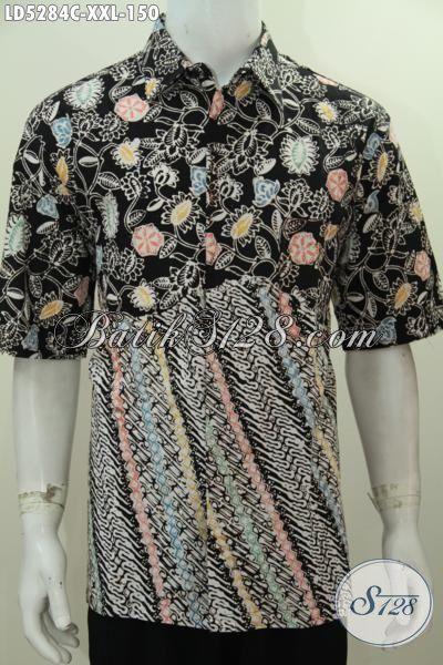 Batik Hem 3L Motif Parang Bunga Dasar Hitam, Baju Lengan Pendek Proses Cap Untuk Cowok Gemuk Terlihat Modis Dan Mempesona, Size XXL