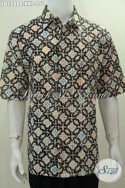 Sedia Kemeja Lengan Pendek Batik Cap Motif Terbaru Yang Lebih Modis 3L, Baju Batik Halus Kwalitas Istimewa Harga Terjangkau Trend Mode Terkini Khusus Buat Cowok Gemuk, Size XXL