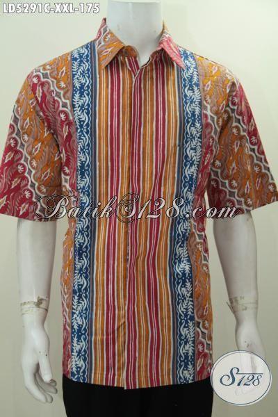 Produk Baju Batik Pakaian 3L Exclusive Untuk Lelaki Dewasa, Pakaian Batik Jumbo Motif Kombinasi Proses Cap Tulis Trend Mode Terkini Bikin Penampilan Tambah Trendy [LD5291C-XXL]