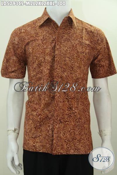 Baju Batik Lengan Pendek Halus Warna Coklat Kwalitas Bagus Motif Proses Cap Smoke, Pakaian Batik Lelaki Muda Dan Dewasa Untuk Tampil Lebih Stylish, Size M – L – XL – XXL