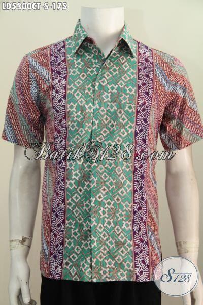 Batik Kemeja Modis Motif Kombinasi, Produk Baju Batik Pria Muda Untuk Kerja Dan Pesta Motif Bagus Proses Cap Tulis, Size S
