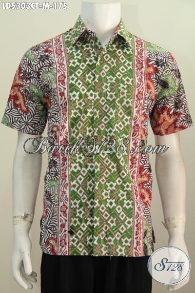 Jual Produk Baju Batik Cowok Terbaru Dengan Kombinasi Motif Bagus Dan Berkelas Model Lengan Pendek, Pakaian Batik Cap Tulis Buatan Solo Mewah Hanya 175K, Size M