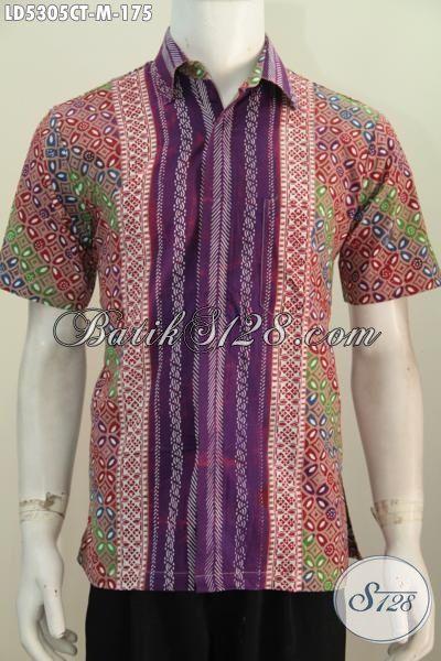 Batik modern pria depan warna ungu eksklusif