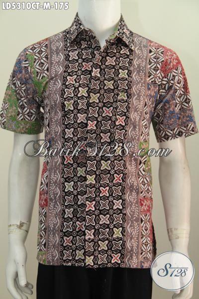 Hem Batik Lengan Pendek Cowok Motif Trendy Proses Cap Tulis, Baju Batik Paling Keren Untuk Hangout Dan Jalan-Jalan Tampil Stylish Dan Keren [LD5310CT-M]