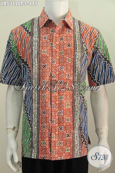 Baju Hem Batik Parang Dengan Kombinasi Warna Modern Modis Dan Berkelas, Pakaian Batik Cap Tulis Model Lengan Pendek Untuk Baju Kerja Dan Santai, Size L