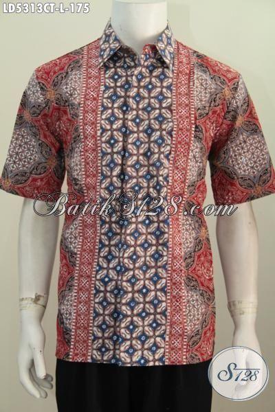 Aneka Baju Batik Modern Untuk Para Pegawai, Busana Batik Lengan Pendek Motif kombinasi Proses Cap Tulis Dengan Kombinasi Warna  Mewah Tampil Lebih Percaya Diri, Size L