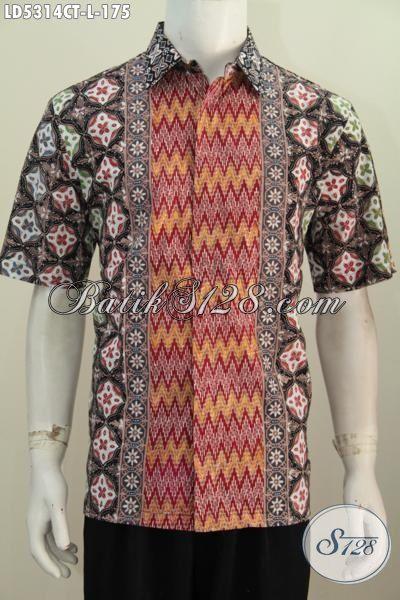 Baju Hem Batik Lengan Pendek Modis Motif Bagus Dan Mewah, Produk Busana Batik Terbaru Dari Solo Proses Cap Tulis Untuk Penampilan Lebih Keren, Size L