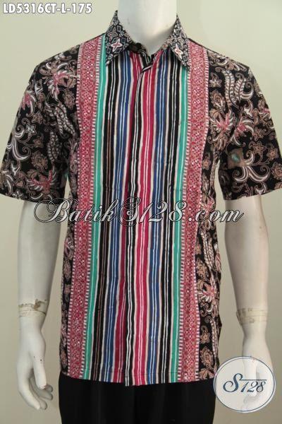 Toko Baju Batik Online, Sedia Pakaian Batik Istimewa Khas Jawa Tengah Dengan Motif Kombinasi Proses Cap Tulis  Yang Bikin Cowok Terlihat Berkelas, Size L