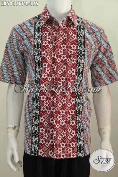 Produk Pakaian Batik Cowok Terbaru Model Lengan Pendek Motif Terbaru Yang Fashionable Dan Berkelas, Baju Kemeja Batik Proses Cap Tulis Kwalitas Halus Harga Terjangkau [LD5317CT-L]