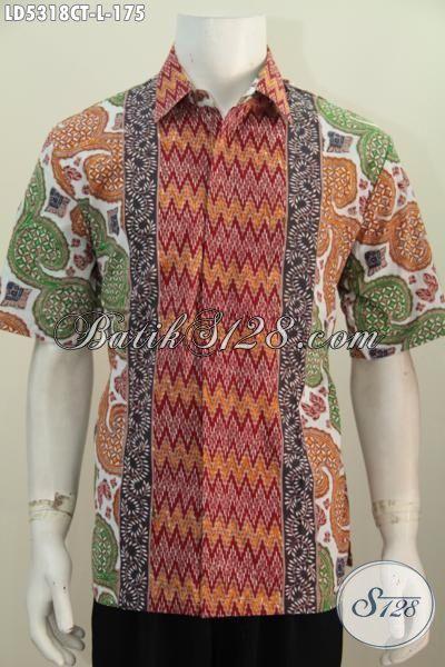 Hem Batik Cap Tulis Kwalitas Bagus Harga Terjangkau, Baju kemeja Lengan Pendek Motif Modern Kwalitas Istimewa Trend Mode Masa Kini, Size L