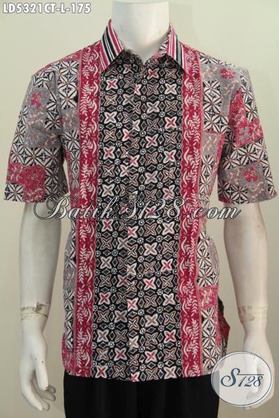Kemeja Batik Cowok Lengan Pendek Ukuran L, Hem Batik Modis Motif Kombinasi Kwalitas Bagus Motif Trendy Proses Cap Tulis, Modis Buat Kerja Dan Keren Untuk Hangout