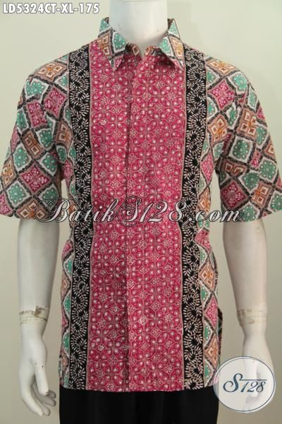 Hem Batik Size XL Untuk Pria Dewasa, Baju Batik Kerja Modis Dengan Motif Kombinasi Proses Cap Tulis, Pakaian Batik Modern Istimewa Buatan Solo Untuk Penampilan Lebih Kece