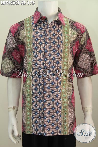 Produk Pakaian Batik Cowok Terkini, Baju Hem Lengan Pendek Istimewa Buatan Solo Motif Bagus Kwalitas Istimewa Trend Mode Masa Kini, Size XL