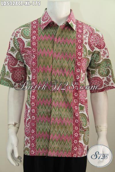 Kemeja Batik Cowok Paling Di Cari, Busana Batik Trendy Kwalitas Bagus Dengan Bahan Adem Motif Keren Cap Tulis, Modis Buat Gaul, Size XL