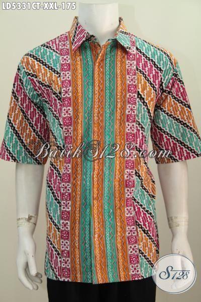 Baju Hem Jumbo Kwqlitas Bagus, Kemeja Batik Modern Motif Kombinasi Proses Cap Tulis Yang Membuat Pria Gemuk Terlihat Modis Dan Kece, Size XXL