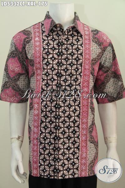 Sedia Pakaian Batik 3L Halus Modis Motif Keren, Baju Batik Lengan Pendek Untuk Cowok Berbadan Gemuk Proses Cap Tulis Penampilan Makin Macho [LD5332CT-XXL]