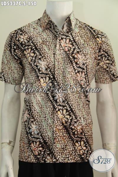 Hem Batik Cap Parang Bunga Dengan Warna Elegan, Pakaian Batik Cowok Lengan Pendek Modis Untuk Hangout Elegan Buat Kerja, Size S
