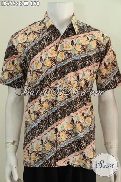 Hem Batik Trendy Halus Motif Parang Bunga Proses Cap, Pakaian Batik Lengan Pendek Modis Buatan Solo Tampil Gaya Dan Gaul, Size M