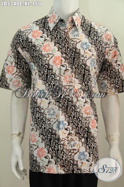 Jual Produk Hem Batik Parang Bunga Kwalitas Bagus, Baju Batik Modern Lengan Pendek Warna Mewah Untuk Penampilan Makin Gagah, Size XL