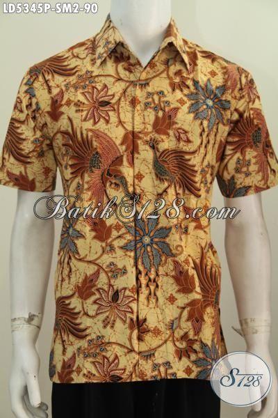 Hem Batik Printing Elegan Motif Mewah, Pakaian Batik Berkelas Model Lengan Pendek Cocok Untuk Kondangan Dan Seragam Kerja, Size S – M