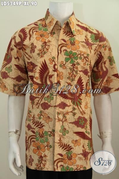 Kemeja Batik Lengan Pendek Pria Dewasa, Pakaian Batik Hem Lengan Pendek Modis Dan Elegan Motif Bagus Proses Printing Untuk Penampilan Makin Berwibawa, Size XL