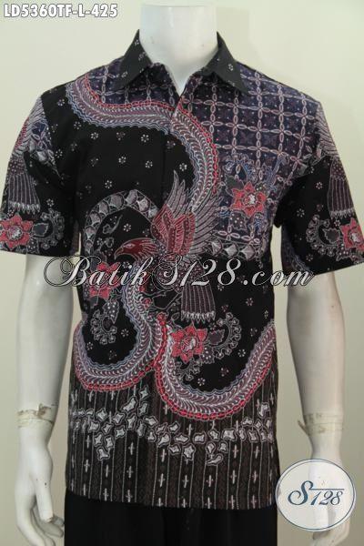 Jual Online Kemeja Batik Premium Model Lengan Pendek, Baju Batik Halus Proses Tulis Motif Mewah Daleman Pake Furing Untuk Lelaki  Tampil Makin Mempesona, Size L