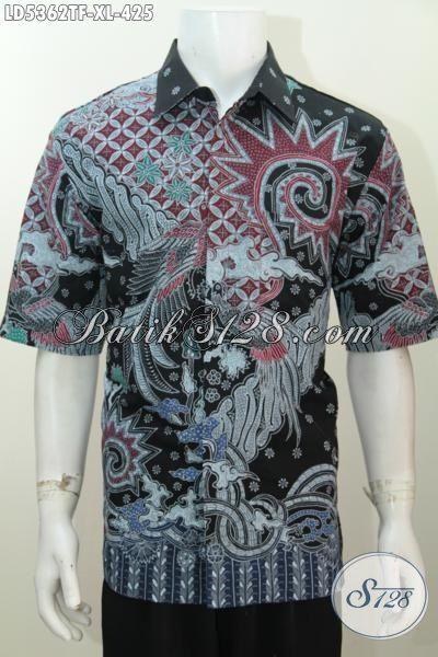 Pusat Baju Batik Solo Online, Sedia Hem Batik Premium Halus Model Lengan Pendek Ukuran XL, Busana Batik Tulis Full Furing Untuk Lelaki Dewasa Kwalitas Terlihat Elegan [LD5362TF-XL]