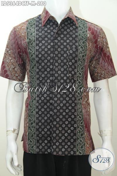 Hem Batik Modis Istimewa Motif Berkelas Proses Cap Tulis, Baju Batik Lengan Pendek Full Furing Bahan Dolby Lebih Modern Dan Nyaman Di Pakai, Size M