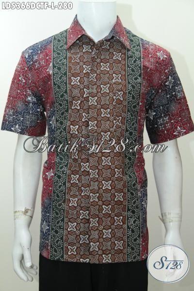 Produk Busana Batik Lengan Pendek Terbaru Buat Pria, Baju Batik Halus Bahan Dolby Motif Mewah Kwalitas Halus Daleman Full Furing, Size L