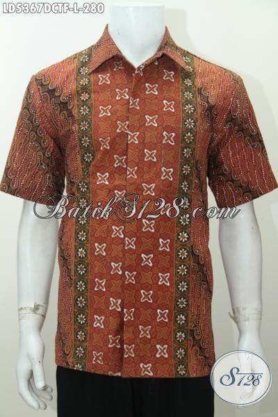 Hem Batik Bahan Doby Halus Motif Mewah Proses Cap Tulis, Busana Batik Lengan Pendek Full Furing Bikin Penampilan Cowok Makin Kece Dan Trendy, Size L