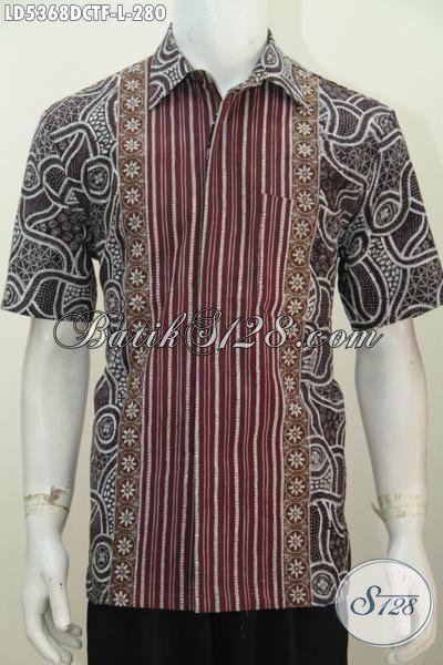 Jual Online Hem Batik Solo Bahan Doby Motif Istimewa Untuk Penampilan Lebih Berkelas, Batik Kemeja Lengan Pendek Full Furing Proses Cap Tulis Trend Mode Terkini, Size L