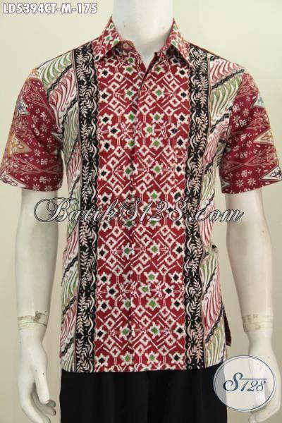 Kemeja Batik Trendy Kwalitas Halus Bahan Adem, Baju Batik Cap Tulis Motif Kombinasi Untuk Cowok Tampil Keren Dan Gaya, Size M