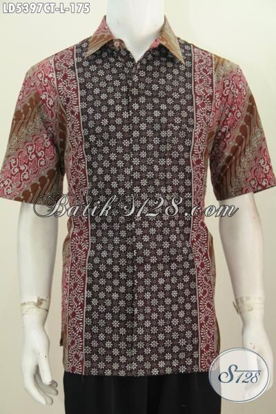 Kemeja Batik Cowok Lengan Pendek Keren Motif Kombinasi Bahan Adem Berpadu Warna Trendy Cocok Untuk Ke Ke Kantor, Baju Batik Cap Tulis Size L Harga Terjangkau