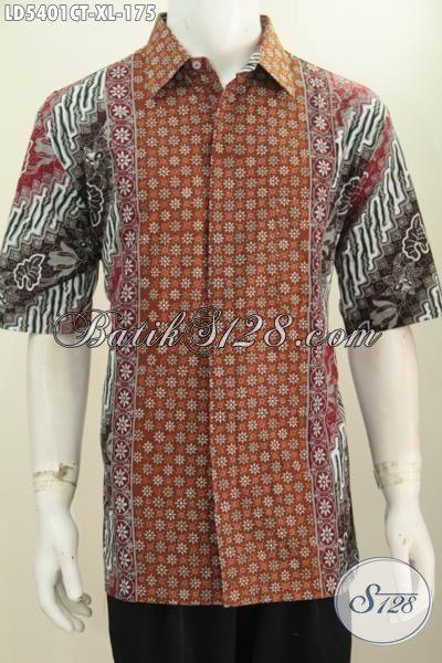 Hem Lengan Pendek Size XL Berbahan Batik Solo Halus Motif Keren Cap Tulis, Baju Batik Berkelas Buat Kerja Dan Hangout