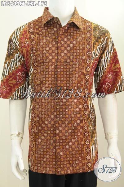 Hem Kerja Bahan Batik Solo Cap Tulis, Baju Batik Elegan Ukuran XXL Spesial Buat Cowok Gemuk Terlihat Gagah Mempesona
